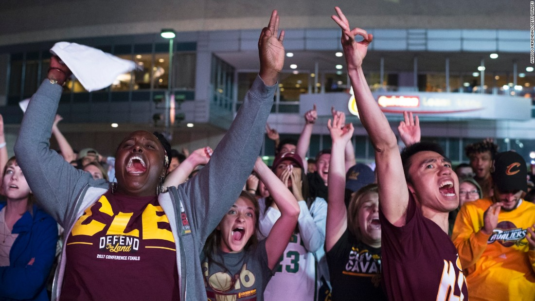 Cavaliers fans watch Game 4 outside Quicken Loans Arena in Cleveland.