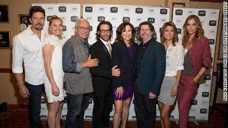 AUSTIN, TX - JUNE 10:  (L-R) Michael Trucco, Katee Sackhoff, Edward James Olmos, James Callis, Mary McDonnell, Ronald D. Moore, Grace Park, and Tricia Helfer attend the closing night reunion panel of Battlestar Galactica during the ATX Television Festival on June 10, 2017 in Austin, Texas.  (Photo by Rick Kern/Getty Images for Entertainment Weekly)