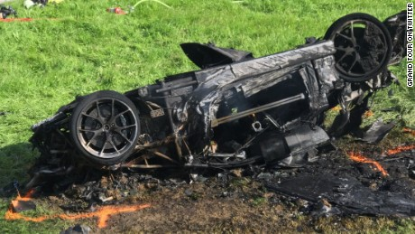 Hammond's car was destroyed in the crash.