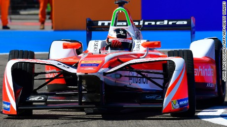 Sweden's Felix Rosenquist with Mahindra Racing negotiates a bend during the qualifying round of the Berlin leg of the Formula E electric car Championships on June 11, 2017. / AFP PHOTO / John MACDOUGALL        (Photo credit should read JOHN MACDOUGALL/AFP/Getty Images)