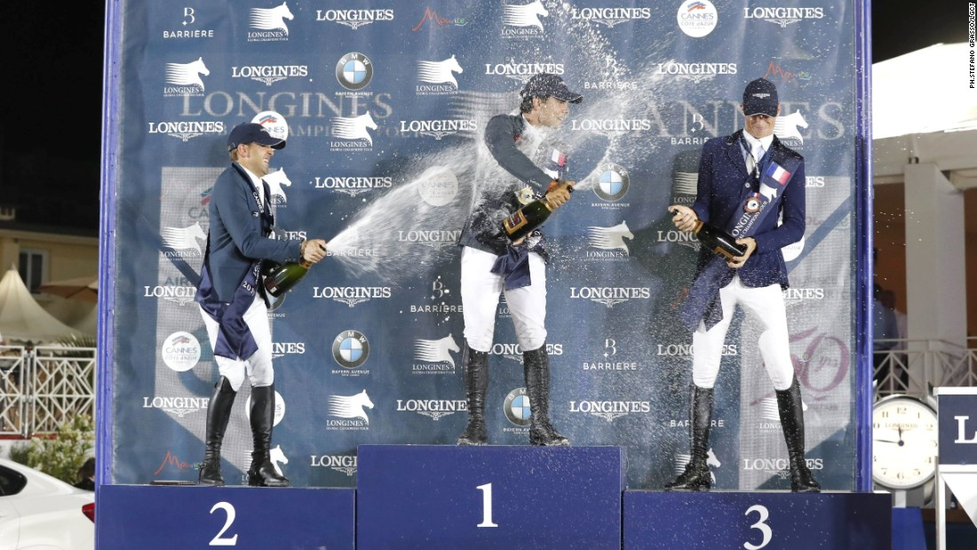The top three celebrate on the podium, although the result has little bearing on the overall LGCT leaderboard. Delestre and Deusser are 11th and 12th, respectively, while Moya's first ever win puts him in 41st place.