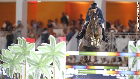 Simon Delestre on Hermes Ryan at the Cannes leg of the Longines Global Champions Tour.