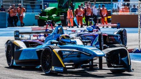 Sebastien Buemi in action during Sunday's Berlin ePrix at Tempelhof Airport.