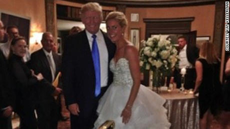 Kristen Piatkowski and Tucker Gladhill got a big surprise at their wedding reception late Saturday night: a visit from President Donald Trump.