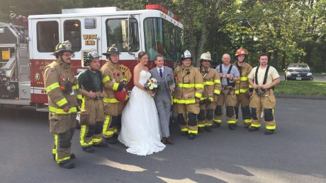 Maria Leonardi and Justin Stone's wedding day got a boost from the Avon, Connecticut, fire department.