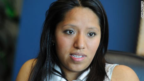 In this photo taken April 28, 2011, Jessica Colotl, an illegal immigrant and student at Kennesaw State University, is seen during a media interview at her lawyer's office in Atlanta. Colotl was arrested last year after a traffic stop and threatened with deportation only to have her case deferred for a year to allow her to finish her coursework. (AP Photo/John Amis)