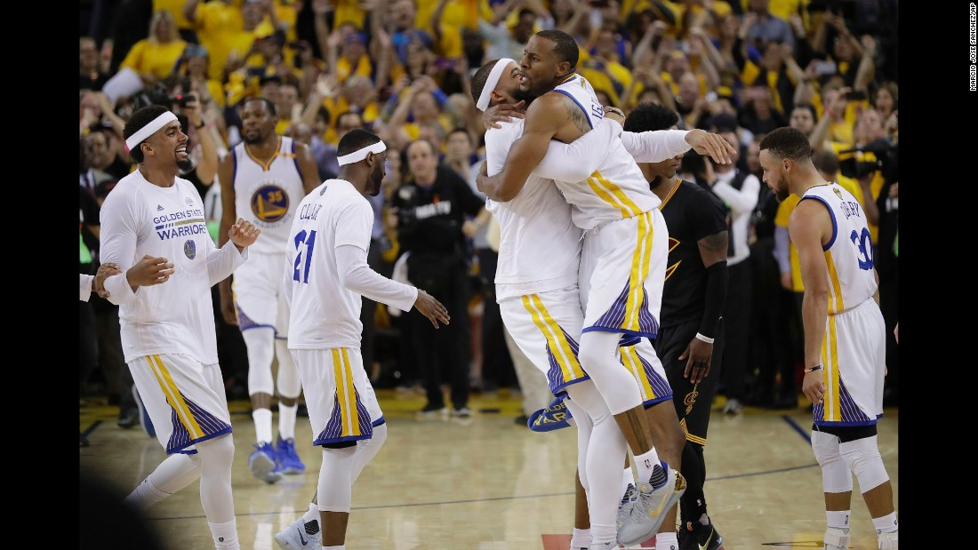 Golden State players celebrate after the victory. This was the third straight season that the Warriors and the Cavaliers had met in the Finals. The Warriors won in 2015, and the Cavaliers won last year.