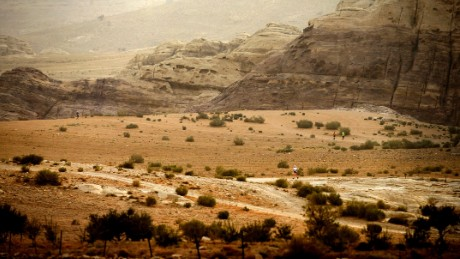 Runners tackle the inhospitable landscapes of the Petra Desert marathon