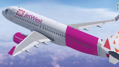 A rendering of a jetWest plane.
