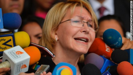 Venezuela's attorney general Luisa Ortega speaks to journalists outside the Supreme Court of Justice headquarters building in Caracas on June 13, 2017. Venezuela's Supreme Court on Monday rejected a legal challenge by attorney general Luisa Ortega against the government's constitutional reform bid in a deadly political crisis. / AFP PHOTO / LUIS ROBAYO        (Photo credit should read LUIS ROBAYO/AFP/Getty Images)