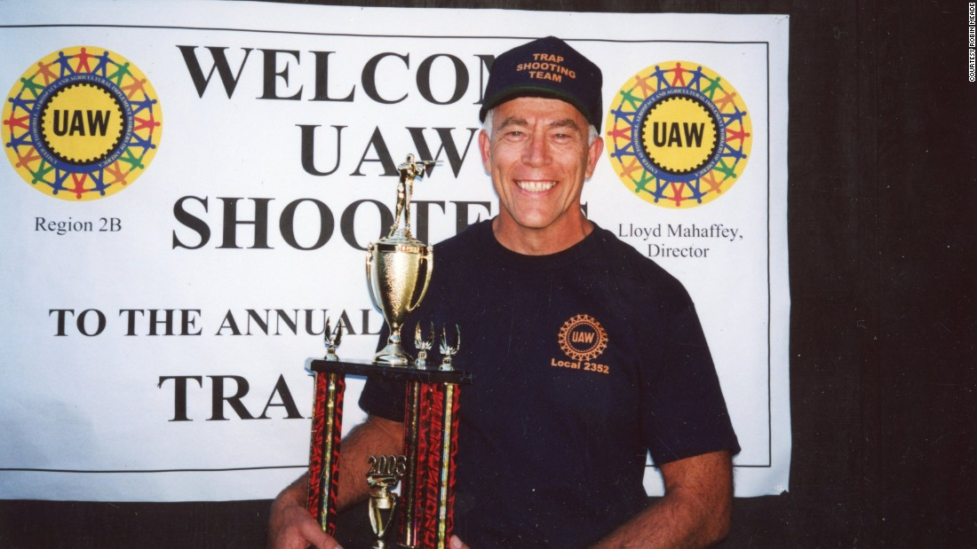An undated photo of Linro Meade winning the area UAW worker's clay trap shooting tournament. He worked in a factory that made rubber parts for cars.