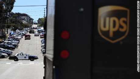 SAN FRANCISCO, CA - JUNE 14:  Police remain on the scene of a shooting at a UPS facility on June 14, 2017 in San Francisco, California.  At least four were killed, including the suspected gunman, in the attack.  (Photo by Justin Sullivan/Getty Images)