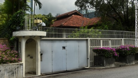 The outside the house of Singapore's late founding father Lee Kuan Yew at Oxley Rise in Singapore on April 11, 2016.