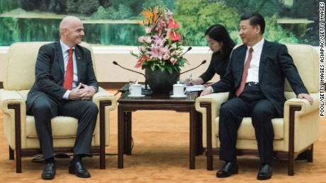 BEIJING - CHINA - JUNE 14:  China's President Xi Jinping attends a meeting with FIFA President Gianni Infantino at the Great Hall of the People in Beijing on June 14, 2017 in Beijing,  (Photo by Fred Dufour - Pool/Getty Images)
