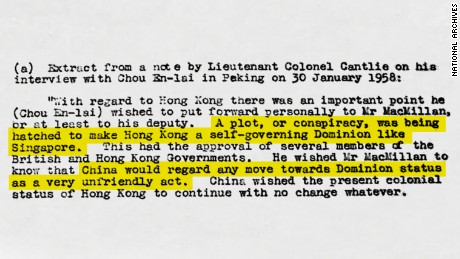 This composite image of a memo sent to British Prime Minister Harold MacMillan in 1958 recounts how Chinese Premier Zhou Enlai warned against any attempts to democratize Hong Kong. Original image altered for clarity.