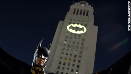 "The Bat-signal was displayed in tribute to West's portrayal of the ""Bright Knight."""