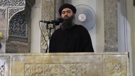 (FILES) This image grab taken from a propaganda video released on July 5, 2014 by al-Furqan Media allegedly shows the leader of the Islamic State (IS) jihadist group, Abu Bakr al-Baghdadi, aka Caliph Ibrahim, adressing Muslim worshippers at a mosque in the militant-held northern Iraqi city of Mosul.  The Russian army on June 16, 2017 said it hit Islamic State leaders in an airstrike in Syria last month and was seeking to verify whether IS chief Abu Bakr al-Baghdadi had been killed. In a statement, the army said Sukhoi warplanes carried out a 10-minute night-time strike on May 28 at a location near Raqa, where IS leaders had gathered to plan a pullout by militants from the group's stronghold.  / AFP PHOTO / AL-FURQAN MEDIA / --/AFP/Getty Images