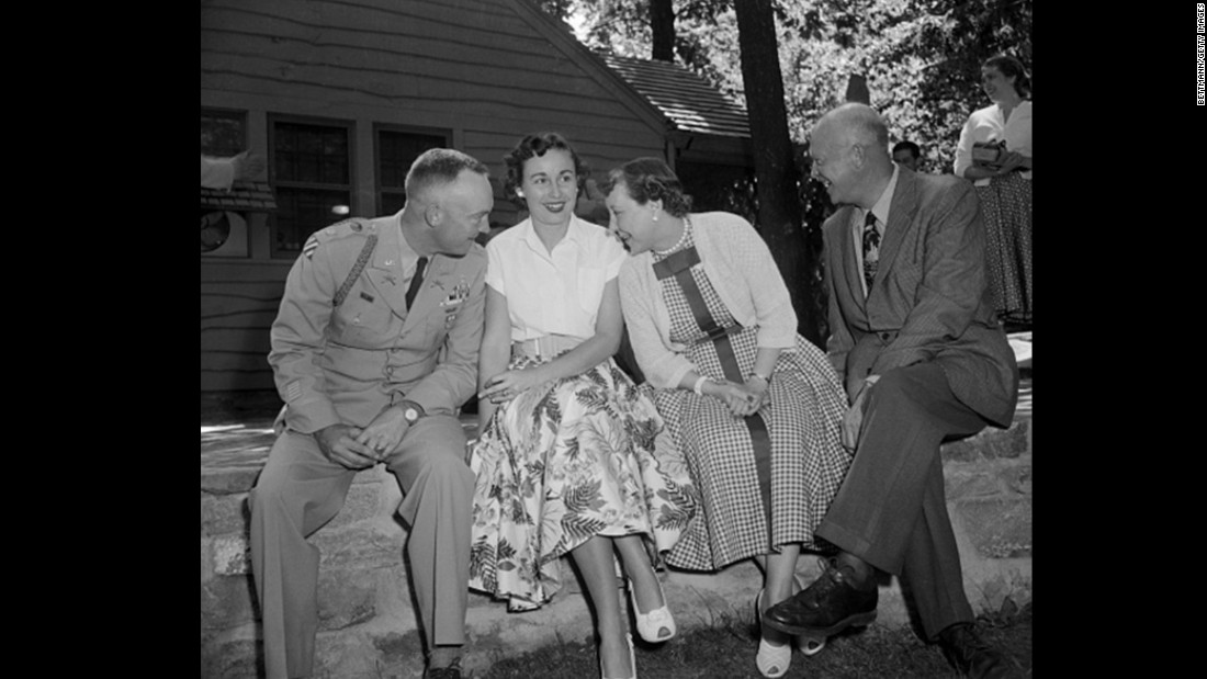 President Dwight Eisenhower enjoys a picnic with his family, August 1954.