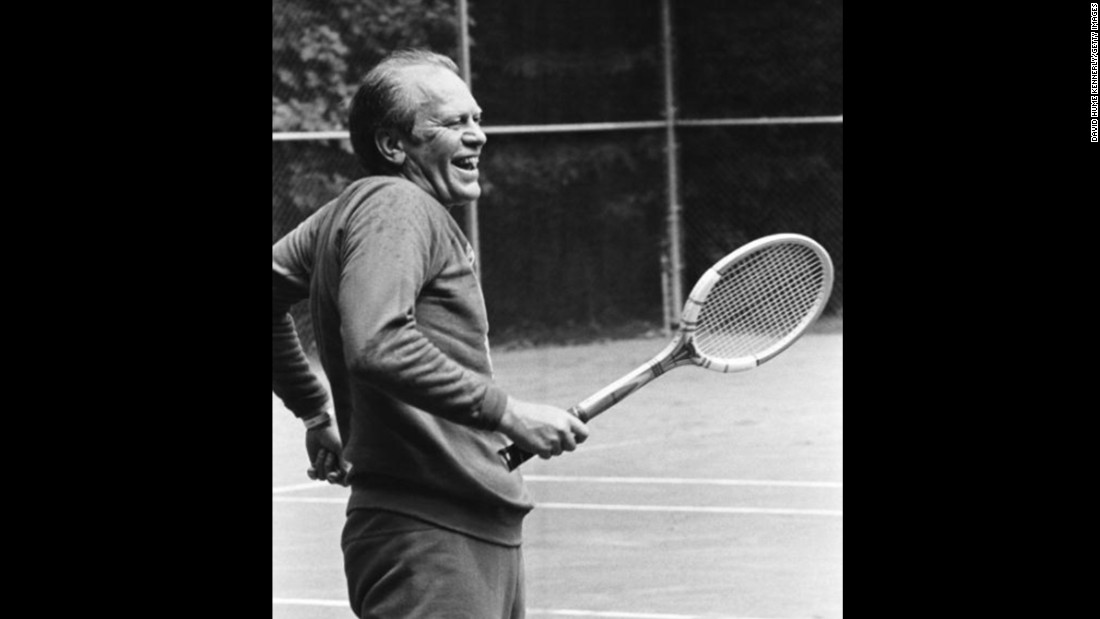 President Gerald Ford enjoying some tennis at the Camp David courts, September 1974.