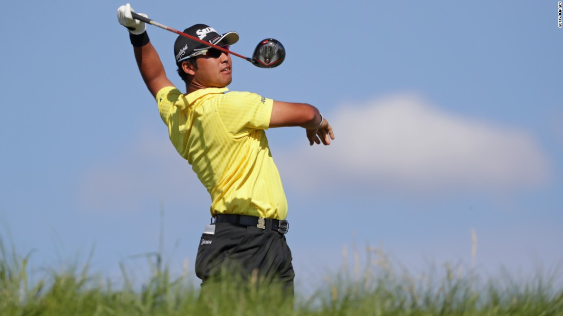 Japan's Hideki Matsuyama was on target to break the major championship scoring record of 63 at seven under after 13 holes, but five pars coming home gave him a 65.