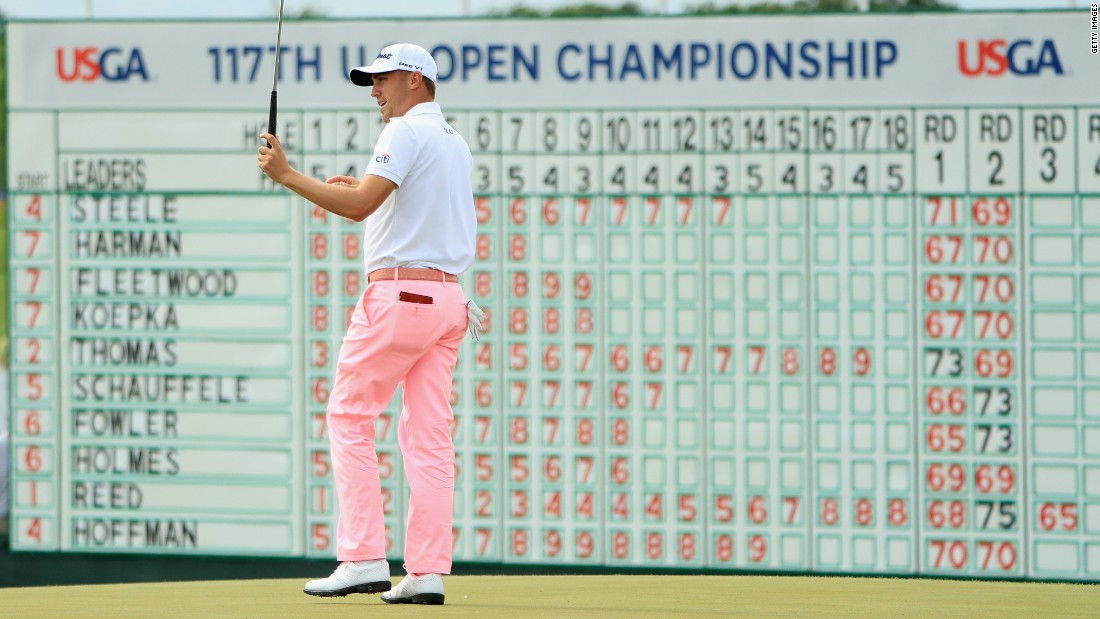 Record breaker! Justin Thomas shoots the lowest round in relation to par in US Open history with a nine-under 63 to set the pace on day three at Erin Hills.