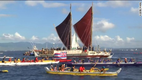 Thousands were on hand to greet the Hokulea on its return to Hawaii after a three year global voyage