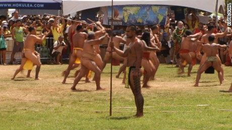 A spear throwing ceremony was part of the Hokulea festivities. The dangerous rite hasn't been performed in near 200 years.