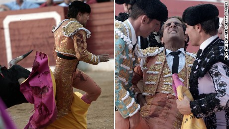 Spanish matador Iván Fandiño gets tripped up in his cape and falls during a bullfight in France. The bull gored Fandiño, who later died of his wounds.