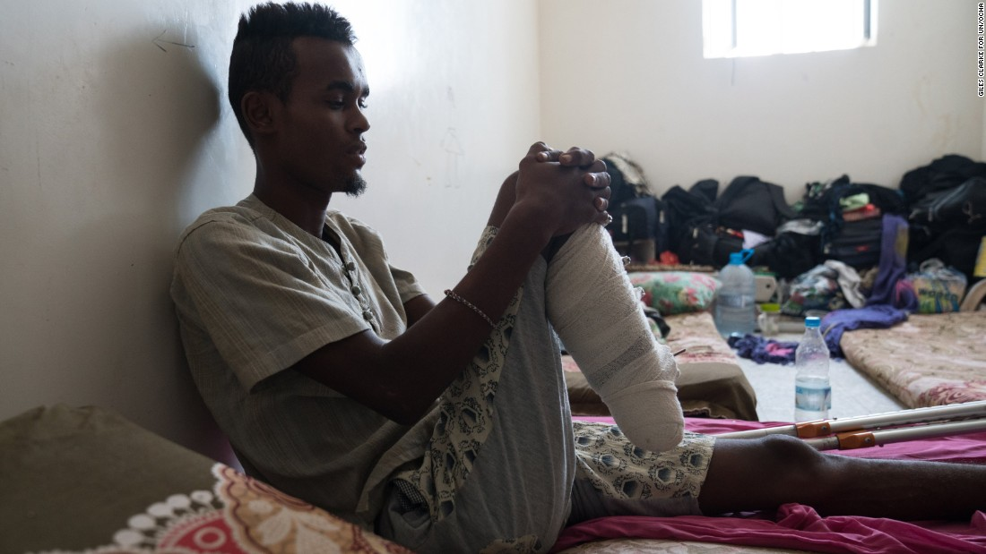 "Mohammad, 17, from Mogadishu survived an <a href=""/2017/03/18/middleeast/yemen-refugee-boat-attack/index.html"" target=""_blank"">attack on a migrant boat off the coast of Yemen </a>that killed at least 42 people. He says he saw a helicopter take off from a large military boat and thought they were being saved -- until it opened fire on them. Two of his friends were killed, and he had to have his right foot amputated."