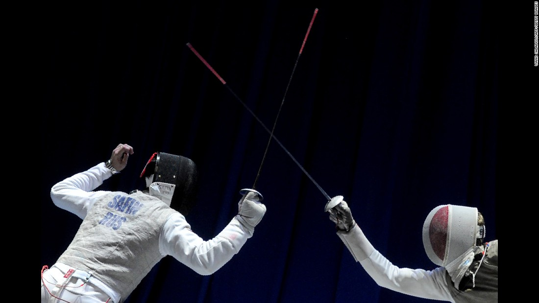 Russia's Timur Safin competes against France's Erwann Le Pechoux at the European Fencing Championships on Wednesday, June 14. France won the team foil final.