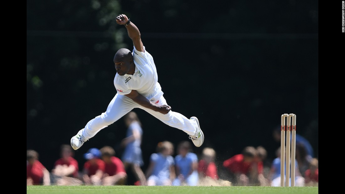 Junior Dala bowls the ball for South Africa's A team on Wednesday, June 14, during a match against the Sussex County Cricket Club in Arundel, England.