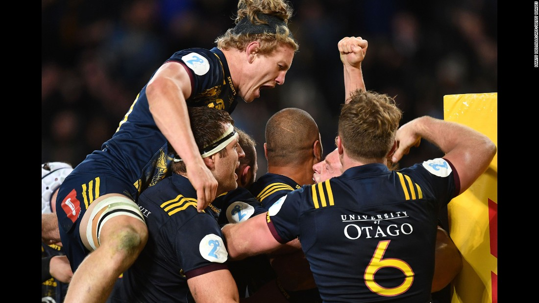 The Otago Highlanders celebrate their win over the British and Irish Lions after a rugby match in Dunedin, New Zealand, on Tuesday, June 13.