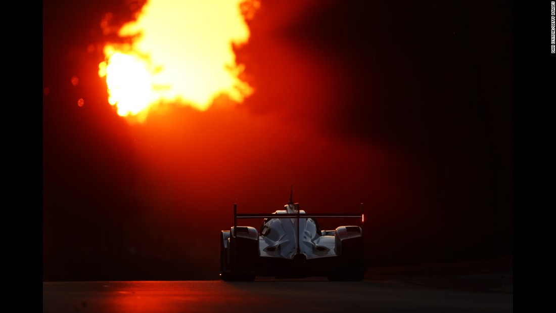 A car competes during the 24 Hours of Le Mans, a historic endurance race in France, on Saturday, June 17.