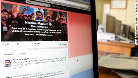 View of a computer screen showing the Twitter account of Venezuelan President Nicolas Maduro, in Caracas on October 1, 2013. Venezuela's President Nicolas Maduro has accused Twitter of attacking his Twitter account and those of some of his ministers as part of a right wing plot. Maduro said late Thursday that the alleged attack was conducted in concert with social networks to provoke unrest and suspend upcoming December 8 municipal elections. Communications Minister Delsy Rodriguez said nearly 6,600 Maduro followers disappeared from the president's account in 10 minutes, although she did not specify when the incident too place. As of Friday, Maduro's official Twitter account had 1.4 million followers.   AFP  PHOTO/JUAN BARRETO        (Photo credit should read JUAN BARRETO/AFP/Getty Images)