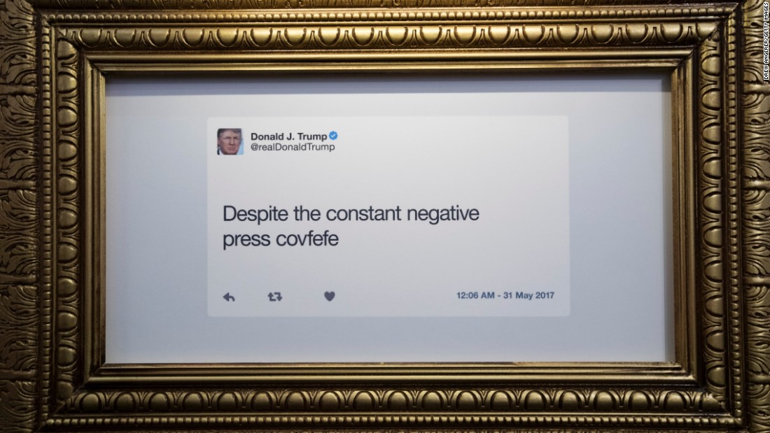 "A tweet is displayed at the ""Donald J. Trump Presidential Twitter Library."""