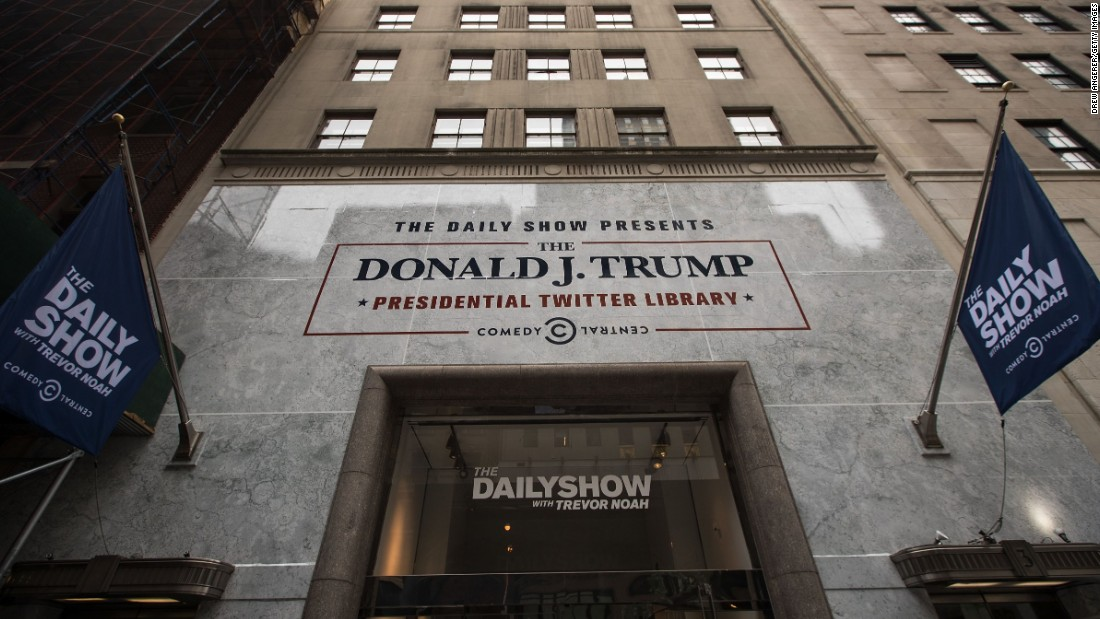 """The Daily Show""-produced ""Donald J. Trump Presidential Twitter Library"" in New York City showcased President Trump's tweets through the years. The pop-up exhibit was only open for a few days."