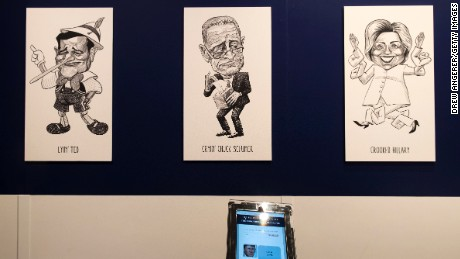 NEW YORK, NY - JUNE 16: Guests can stop at a kiosk an receive a mean-spirited nickname from a nickname generator at The Daily Show-produced 'Donald J. Trump Presidential Twitter Library,' June 16, 2017 in New York City. The parody library showcases President Trump's tweets through the years. (Photo by Drew Angerer/Getty Images)