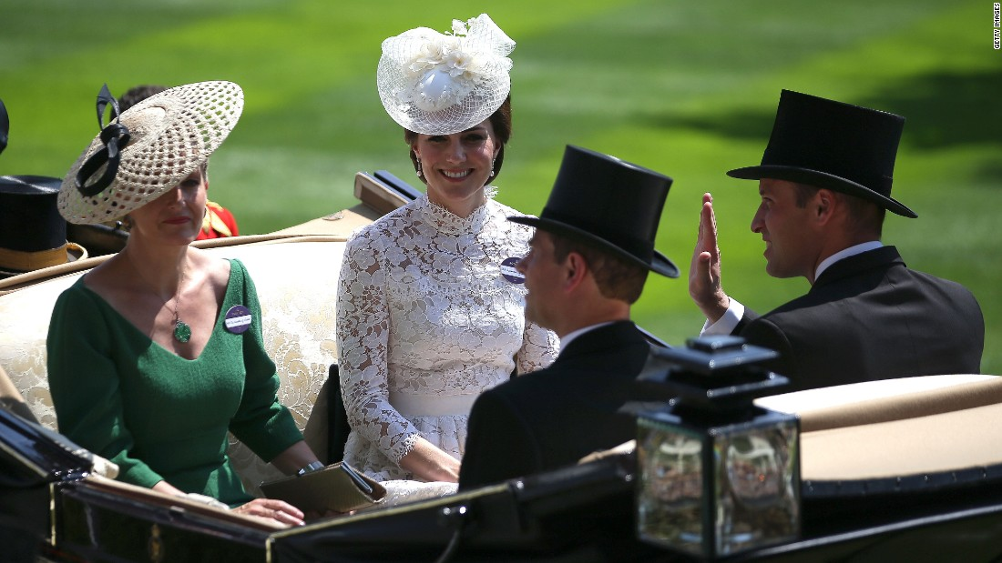 The Duchess of Cambridge (in white) rode in a carriage with Sophie, Countess of Wessex , Prince William, Duke of Cambridge (right) and Edward, Earl of Essex.
