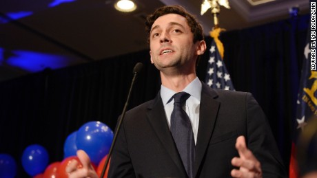 Jon Ossoff speaks to his guests at his election party on June 20th,2017 in Atlanta, Georgia.