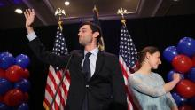 ATLANTA, GA - JUNE 20:  Democratic candidate Jon Ossoff and and his fiancee, Alisha Kramer, wave as he arrives to give a concession speech speak during his election night party being held at the Westin Atlanta Perimeter North Hotel after returns show him losing the race for Georgia's 6th Congressional District on June 20, 2017 in Atlanta, Georgia. Mr. Ossoff ran in a special election against his Republican challenger Karen Handel in a bid to replace Tom Price, who is now the Secretary of Health and Human Services.  (Photo by Joe Raedle/Getty Images)