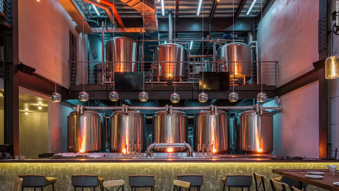 In addition to a bar, restaurant and rooftop terrace, the two-story East West Brewing Company building also houses a brewery, where visitors can learn about the craft brewing process.