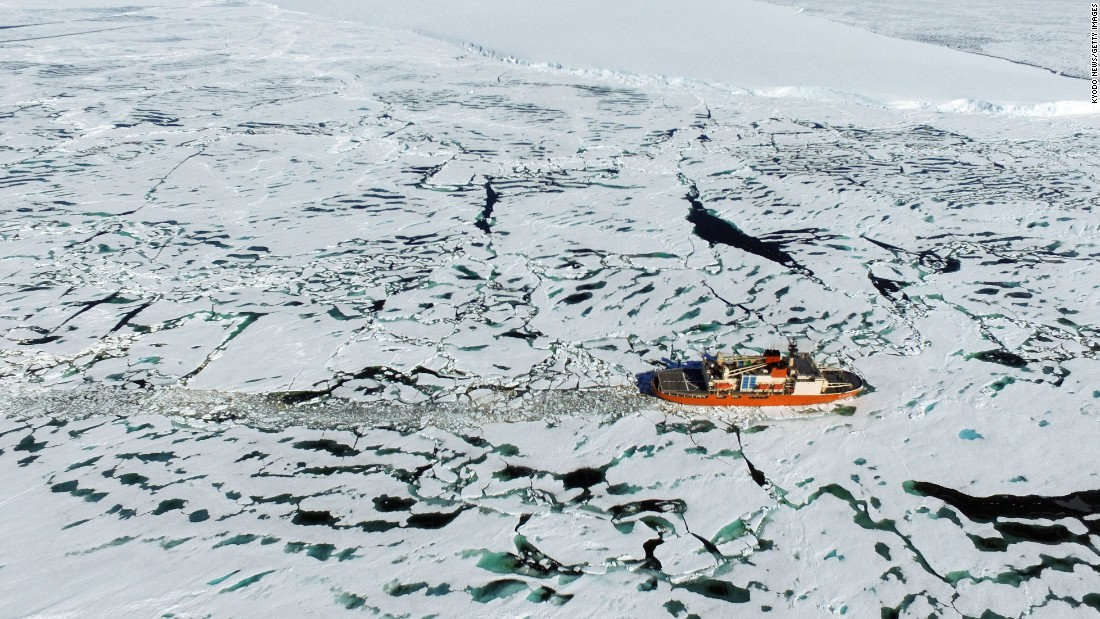 <strong>Lutzow-Holm Bay, Antarctica:</strong> The Japanese icebreaker Shirase, on a mission to research global warming, glides through the waters near Lutzow-Holm Bay, Antarctica.