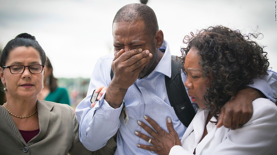 "John Thompson, a friend of Philando Castile, weeps as he walks out of a courthouse in St. Paul, Minnesota, on Friday, June 16. Jeronimo Yanez, the Minnesota police officer who fatally shot Castile during a traffic stop last year, <a href=""http://www.cnn.com/2017/06/16/us/philando-castile-trial-verdict/index.html"" target=""_blank"">had just been found not guilty</a> of second-degree manslaughter. Castile's death garnered widespread attention -- and sparked nationwide protests over the use of force by police -- after his girlfriend broadcast the shooting's aftermath on Facebook Live."