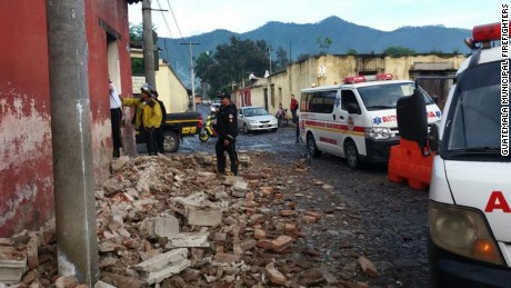 Buildings suffer damage Thursday in the city of Antigua Guatemala, a UNESCO World Heritage site.