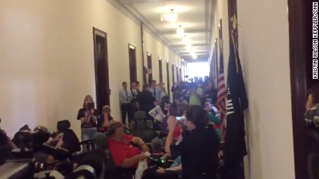 Dozens arrested after disability advocates protest at McConnell's office
