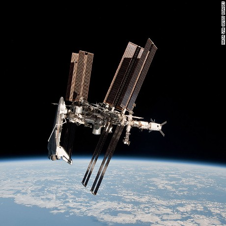 IN SPACE - MAY 23:  In this handout image provided by the European Space Agency (ESA) and NASA, the International Space Station and the docked space shuttle Endeavour orbit Earth during Endeavour's final sortie on May 23, 2011 in Space. Italian astronaut Paolo Nespoli captured the first-ever images of an orbiter docked to the International Space Station from the viewpoint of a departing vessel as he returned to Earth in a Soyuz capsule.  (Photo by Paolo Nespoli - ESA/NASA via Getty Images)