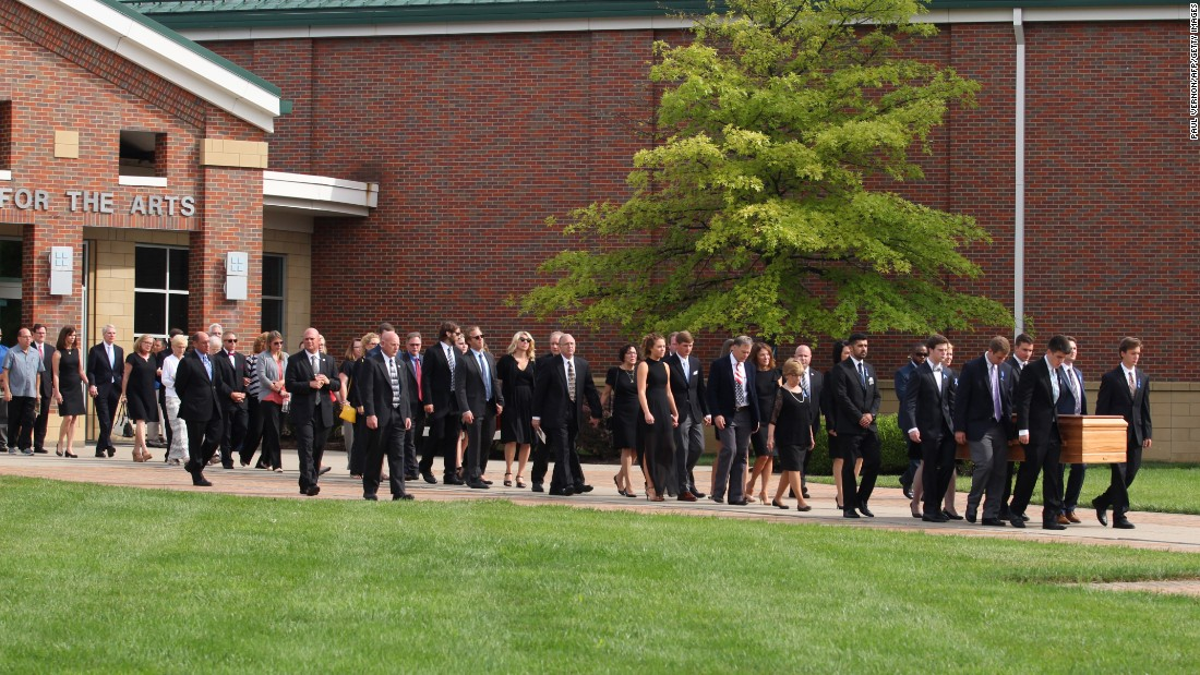 "Otto Warmbier's casket is carried out of a high school in Wyoming, Ohio, after <a href=""http://www.cnn.com/2017/06/22/us/otto-warmbier-funeral/index.html"" target=""_blank"">his funeral</a> on Thursday, June 22. Warmbier, 22, died last week after 17 months of detention in North Korea. He was returned to the United States in a coma, and he died six days later. His official cause of death is unknown, as his parents declined to have an autopsy conducted."