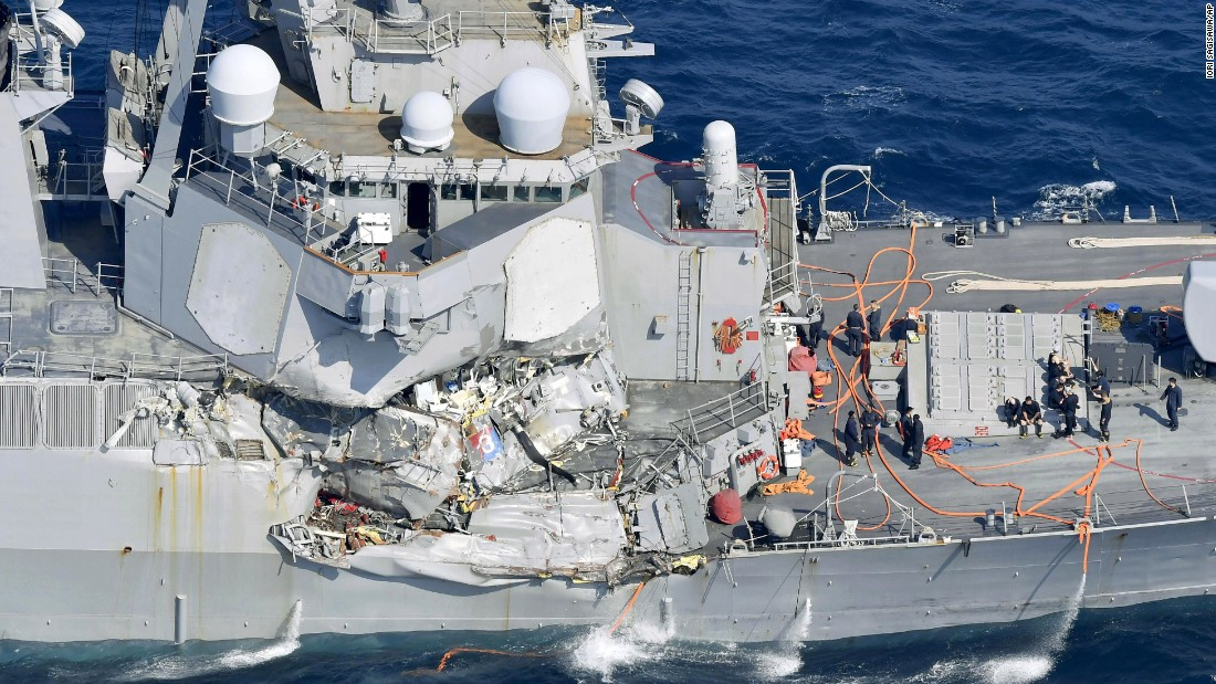"Damage is seen on the starboard side of the USS Fitzgerald after the Navy destroyer <a href=""http://www.cnn.com/2017/06/22/politics/uss-fitzgerald-investigation-update/index.html"" target=""_blank"">collided with a cargo ship </a>off the east coast of Japan on Saturday, June 17. Seven American sailors were killed. The US Navy, the US Coast Guard and Japanese authorities are all conducting investigations."