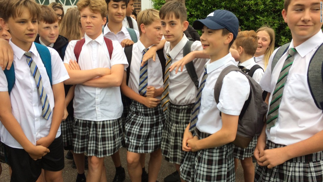 "Boys at the Isca Academy in Exeter, England, <a href=""http://www.cnn.com/2017/06/22/europe/british-schoolboys-skirt-protest-heatwave/index.html"" target=""_blank"">wear skirts</a> Thursday, June 22, to protest their school's ""no shorts"" policy. The teenagers argued it was just too hot to wear trousers as a record-breaking heat wave gripped Britain."
