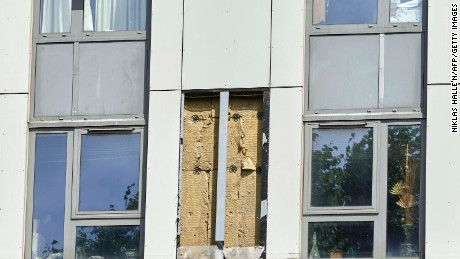 The hole where a panel of cladding was removed from a tower block on the Chalcots Estate in north London.
